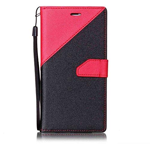 iphone 7 plus Hülle,Fodlon® Mode Kampffarbe Karte Schlitze mit Schlüsselband Telefon Schutzhülle -Braun Rot