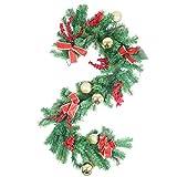U'Artlines Ghirlanda Artificiale in Stile Ramo di Albero di Natale con Ornamenti di Palline Bowknot Rosso Dorate Decorazioni Natalizie Lunghe 2 Metri