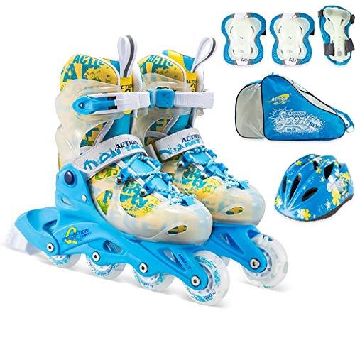 TKWhbx TKW Einstellbare Kinder Inline-Skates, Fun Flashing Für Anfänger Jungen Und Mädchen Skates, Outdoor-Jugendstudenten Rollschuhe, Blau, Rosa (Color : Blue, Size : XS (EU 26-29))