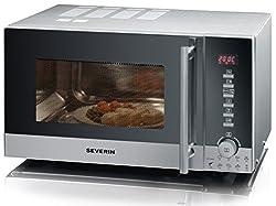 SEVERIN MW 9722 3-in-1 Mikrowelle (800W, mit Grill- und Heißluftfunktion, Inkl. Drehteller (Ø 24,5cm) und 2 Grillroste) silber /schwarz