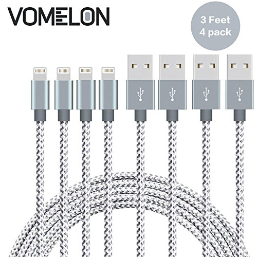 Preisvergleich Produktbild iPhone Ladekabel Lightning Kabel, [3FT-4Pack] Verwicklung frei Nylon geflochten Kabel IPhone USB Ladekabel Kompatibel mit iPhone 7/7 Plus/6S/6 Plus, SE/5S/5, iPad, iPod Nano 7-[Grau + Weiß]