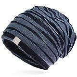 UNIQ Long Beanie Strickmütze | Damen und Herren | Slouch Mütze Oversize Unisex Atmungsaktiv Baumwolle | für das ganze Jahr | Mehrlagig Falten Muster - dunkelblau