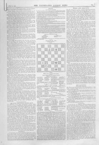 4 Schach-Probleme u. Antiker Druck der Spiel-1880