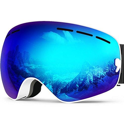 Zionor lagopus x snowboard skate occhiali da sci con staccabile grandangolare lenti con un anti nebbia patinata big sferica professionale unisex (bianco)