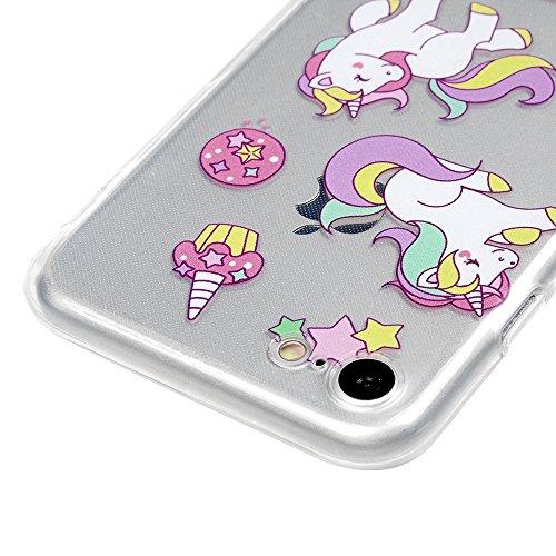MAXFE.CO Schutzhülle Tasche Case für iPhone 6 Plus/6S Plus TPU Silikon Cover mit Diamanten Etui Protective Schale Bumper Knallblau Donuts