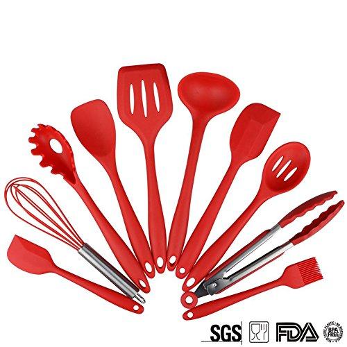 10 pieza utensilios cocina de silicona MAGFLY Set Resistente al calor Gadgets - Pinzas, bata, pincel, espátula, cuchara ranurada, cuchara de fideos, arroz Paddle, ranurado espátula, cuchara de sopa (rojo) [Clase de eficiencia energética A++]