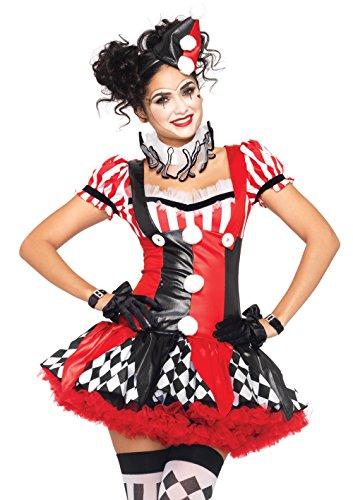 -teilig Clown Harlekin schwarz/rot Medium (Harley Quinn Clown Kostüme)