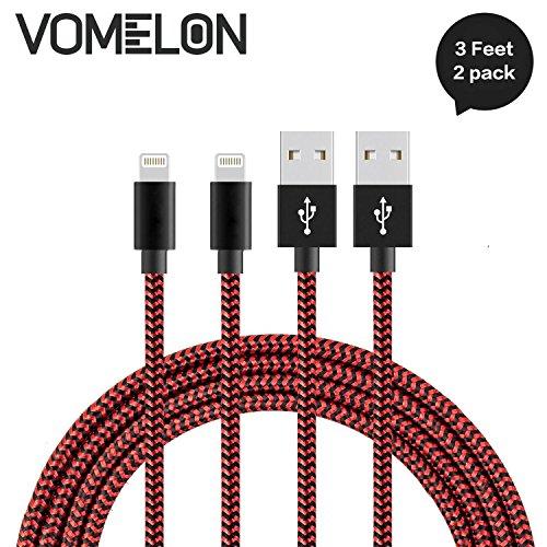 iPhone Ladekabel Lightning Kabel, [3FT-2Pack] Nylon geflochtene extra lange Verwicklung frei Kabel Hochgeschwindigkeits-Ladegerät für iPhone 7/7 Plus/6S/6 Plus, SE/5S/5, iPad, iPod Nano 7-[Rot + schwarz]