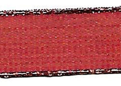 BEEKLEY BOWS 1,27 cm wendbares Glitzerndes Polyester-Nähband, 12,7 m 5 Yards Glittered Red with Metallic Edges