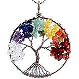 KYEYGWO Baum des Lebens Runder Anhänger, Handarbeit Draht Gewickelt Chakra Chipstein Hängende Halskette für Damen, 7 Chakra Steine