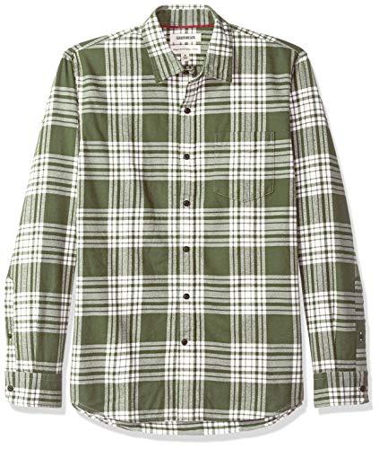 Goodthreads Herren Regular Fit Hemd aus gebürstetem Flanell mit langen Ärmeln, Grün (Olive Plaid Oli), XX-Large -
