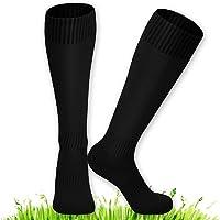 XCOZU 2 Pcs Kids Football Socks, Black Football Socks Breathable Sports Training Accessories Soccer Hockey Rugby Tube…