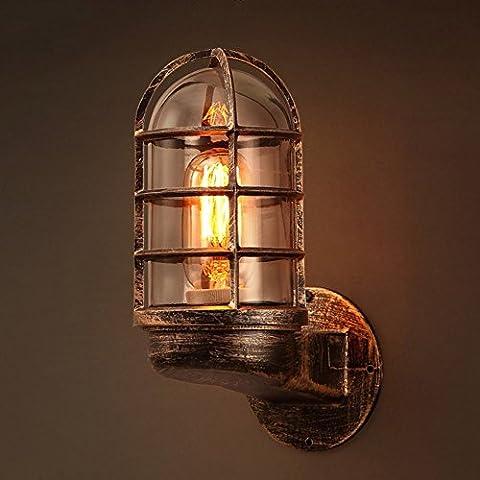 JiaYouJia Industrial Rustic Metal Cage 1-Light Indoor Outdoor Wall