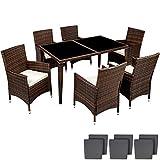 TecTake Aluminium Salon de jardin 6+1 TABLE DE JARDIN EN RESINE TRESSEE CHAISES SALON...