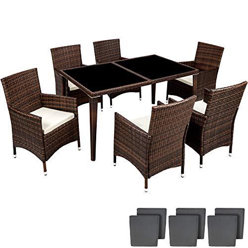TecTake Aluminium Salon de jardin 6+1 TABLE DE JARDIN EN RESINE TRESSEE CHAISES SALON D'EXTERIEUR POLY ROTIN + DEUX SET DE HOUSSES - diverses couleurs au choix - (Noir marron | No. 401990)