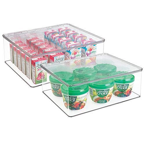 mDesign Aufbewahrungsbox mit Deckel für den Kühlschrank – Frischhaltedose und Gefrierdose im 2er-Pack – Babynahrung & andere Lebensmittel ideal aufbewahrt – transparent