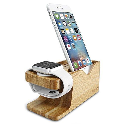 Apple Watch Ladestation, Spigen [Universal Ladestatio] [Umweltfreundlich Bambus] Apple Watch Holz-Stand 2 in 1 Bambus-Aufladung Docking Station für Apple Watch (2015), Apple Watch 2 (2016), Apple Watch 3 (2017) iPhone 8/ 8 plus/ 7 / 7plus / 6s / 6s plus / SE / 5S / 5, Galaxy Note5 / Galaxy S8 / S8 Plus / S7 / S7 Edge, S6 / S7 Edge und die meisten Smartphones - S370 Phone Docking-pad