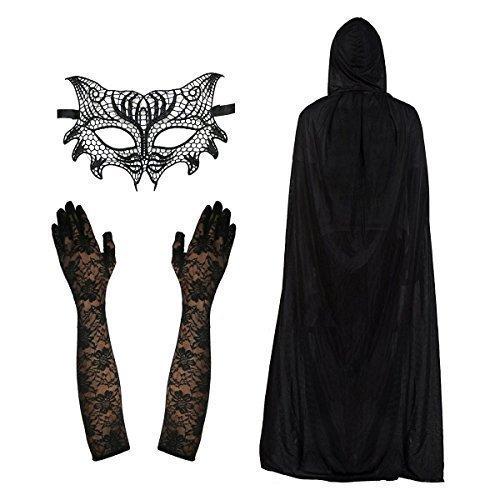 Damen Spitze Cat Damen Maske, Umhang & Ellbogen Länge Handschuhe Modisches (Kostüme Handschuhe Lange)