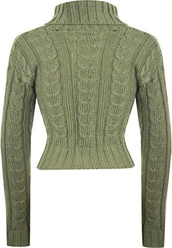 WEARALL Femmes Élevé Polo Cou Chunky Tricoté Longue Sleece Récolte Arrêtez-Vous Dames Haut - Pull - Femmes - Tailles 36-42 Vert