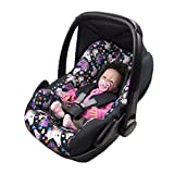 BAMBINIWELT Ersatzbezug für Maxi-Cosi PEBBLE 5-tlg, Bezug für Babyschale, Komplett-Set *NEU* SCHWARZ BUNTE PFERDE