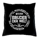 Sofa Kissen mit Füllung Bester Bruder der Welt Größe 40x40 cm und Urkunde Jungen Männer Farbe: schwarz