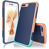 """iPhone 7 Plus Funda - [Ultra Hybrid] HanLuckyStars Funda Carcasa Case TPU Matte Shell Exact Bumper Tope Shock Protección Gota Anti-Arañazos , Choque Absorción Borrar Espalda para Apple iPhone 7 Plus 5.5"""" (Azul/Naranja)"""