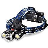 YXXHM- T6 + COB phares puissants, éclairage extérieur LED phares Super Lumineux Longue portée de Charge phares frontaux Lampe de Poche