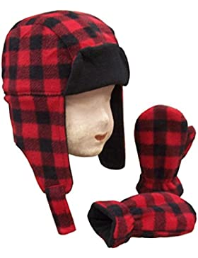 N 'ice Caps Little niños y bebé Buffalo Plaid Polar Trooper gorro manoplas Set