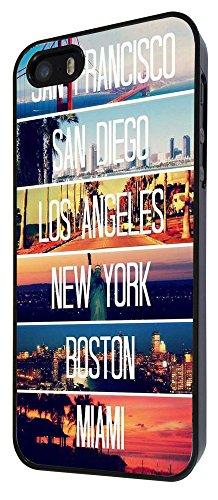 189-US Cities New York Miami Los Angeles Coque iPhone 44S Design Fashion Trend Case Back Cover Métal et Plastique-Noir