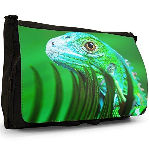 Lucertole Del Mondo–Borsa Tracolla Tela Nera Grande Scuola/Borsa Per Laptop Green Lizard Peeks Over Grass