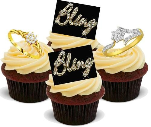 BLING-BLING DIAMANTEN RINGE WEIBLICHE MISCHUNG - 12 essbare hochwertige stehende Waffeln Kuchen Toppers - Bling with Diamond Rings Female Mix (Essbare Diamant-ring)