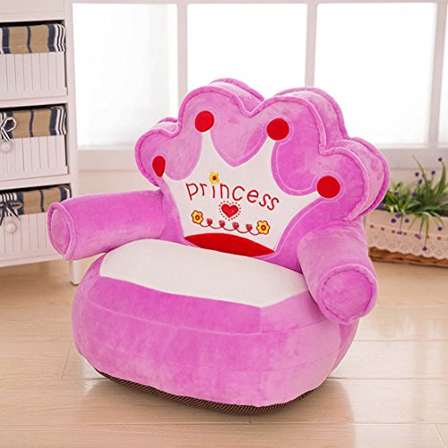 MAXYOYO Prince and Princess Imperial Crown Plush Bean Bag,Pink Blue Chair Seat for Children,Cartoon Tatami Chairs,Birthday Gifts for Boys and Girls 51HvFQKseqL