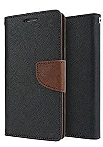 REYTAIL Premium Black & Brown Wallet Diary Faux Leather With Card & Currency Pockets Flip Cover for Lenovo A5000