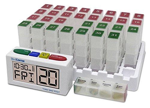 MedCenter Systems - Caja Organizadora De Pastillas Mensual Con Recordatorio De Alarma Con Voz – El Dispensador Te Ayudará A Tomar La Medicación Adecuada En El Momento Adecuado - Discreto con Reloj