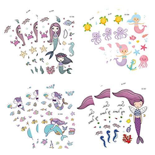 TOYMYTOY Cartoon Meerjungfrau Tattoo Aufkleber Wasserdichte Meer Tier Dekorative Aufkleber Spielzeug für Kinder Mädchen Jungen, 12 Stücke (Tattoos Meer Tier)