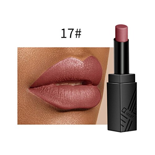 Huihong QIBEST 2 Euro Samt Matte Lippenstift Langlebige Und Wasserdichte, Schwer Zu Verblassen, Feuchtigkeitsspendend, Bequem, Geschmeidig Und Seidig Fühlen 34 Farben Optional (17#)