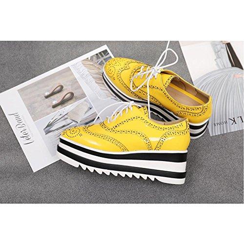 Suola Piattaforma Piattaforma Pelle A2816 Spessa Zeppa Tacco Verniciata Qualità Alta KJJDE Donna di yellow WSXY TrxwTqH