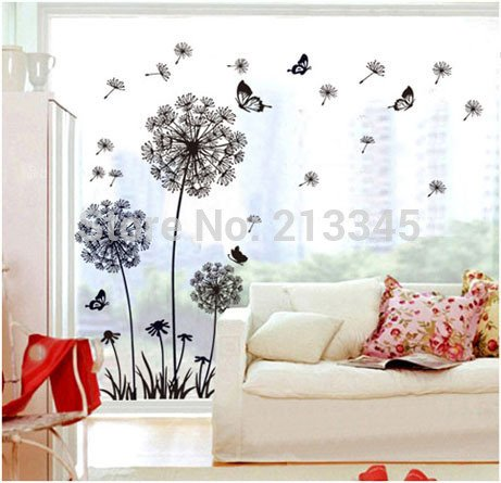 new-saturday-monopoly-diy-large-black-dandelion-flower-butterfly-home-decor-wall-decals-living-room-