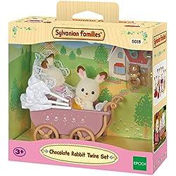 Sylvanian Families - Set Gemelos Conejos Chocolate con cochecito (Epoch para Imaginar 5018)
