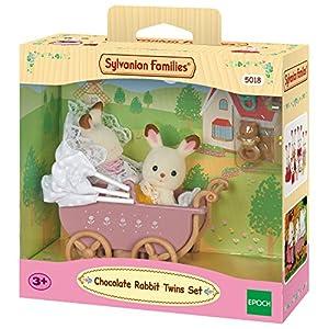 Sylvanian Families-8711915022064 Sylvanian Families Set Gemelos Conejos Chocolate Con Cochecito, Multicolor (Epoch para Imaginar 5018)