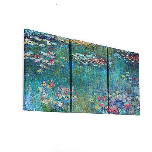 Fajerminart 3 Panel Gemälde Claude Monet Ölgemälde Replik Seerosen Drucke auf Leinwand Monet Poster Wandkunst, Malerei Kunst Geeignet Wohnzimmer, Gesamtgröße (40cmx60cmx3 Panel) (Holzrahmen) -