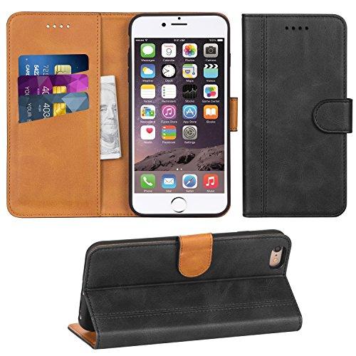 Adicase iPhone 6 Plus Hülle Leder Wallet Tasche Flip Case Handyhülle Schutzhülle für Apple iPhone 6 Plus / 6S Plus 5,5 Zoll (Dunkelgrau) Leder Apple Wallet