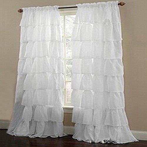 1Pc Rideau Voilage à Galon Fronceur Jointif Multicouche Décoration de Fenêtre Chambre / Balcon (140 * 260cm, blanc)