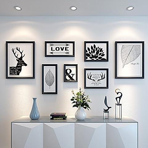 Hjky Cadre photo murale Ensemble le dessin peintures peintures à décorer le canapé muraux Restaurant Nordic murale Tableaux sont suspendu Combinaison d'américain de style minimaliste moderne, plaques de 25mm d'épaisseur, PUR Noir nordique minimaliste