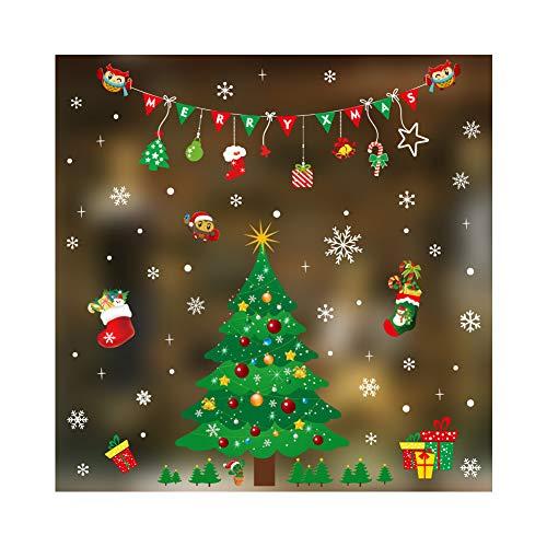 Boieo Weihnachts-Fenster-Aufkleber, Glas, Wand, Fenster, Aufkleber, ablösbar, Folien, Dekorationen Christmas Tree