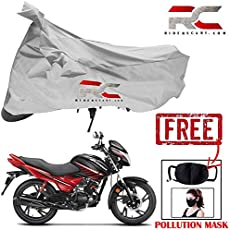 Riderscart Two Wheeler Cover Premium Bike Cover with Pollution Mask Combo for Hero Glamour