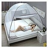 DUXY Pop up moskitonetz, Falten Luxus Yurt Verschlüsselung Doppeltür Anti-Moskito Drucken Zelt, Camping Tragbare Moskitonetz - Enthält einen elektrischen Ventilator,Gray,King180x200cm