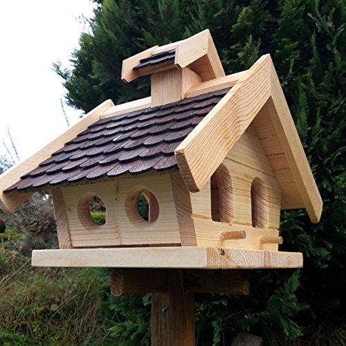 Vogelhaus-XL D Braun- Vogelhäuser-Vogelfutterhaus Vogelhäuschen-aus Holz Wetterschutz Putzklappe - 2