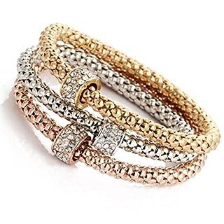 Jewelry,AutumnFall 3pcs/Set Charm Women Gold Silver Rose Gold Rhinestone Bangle Bracelets (C)