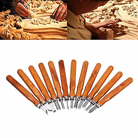 Outil de Gravure sur Bois, GOCHANGE Ciseaux à Bois Sculpture / 12 pcs Main Gravure sur Bois, Couteaux à Découper pour Sculpteur, Charpentier, Amateur, Poterie,